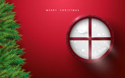 Merry Christmas and Happy new year. fir branches tree and winter landscape in circle window on red background. Space for your text Stock Image
