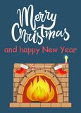 Merry Christmas and Fireplace Vector Illustration. Merry Christmas and happy New Year fireplace made of bricks with flame, red socks and candle with light Royalty Free Stock Images