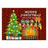Merry Christmas And Happy New Year With Fireplace and Christmas Tree, Red Brick wall. For your design - full color Stock Images