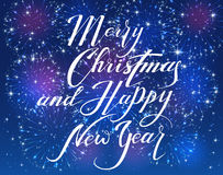 Merry Christmas and Happy New Year with firework on blue backgro. Lettering Merry Christmas and Happy New Year with sparkling fireworks on blue shiny background stock illustration