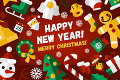 Merry Christmas and Happy New Year flat design card illistration Royalty Free Stock Images