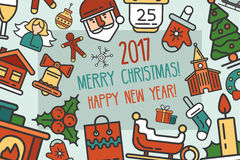 Merry Christmas and Happy New Year flat design card illistration Royalty Free Stock Photos