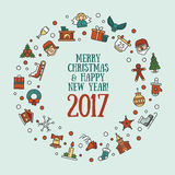 Merry Christmas and Happy New Year flat design card illistration. Merry Christmas and Happy New Year flat design modern vector greeting card illustration with Royalty Free Stock Images
