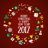 Merry Christmas and Happy New Year flat design card illistration. Merry Christmas and Happy New Year flat design modern vector greeting card illustration with Royalty Free Stock Photography