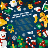 Merry Christmas and Happy New Year flat design card illistration. Merry Christmas and Happy New Year flat design modern vector greeting card illustration with Stock Photo