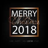Merry Christmas and Happy New Year 2018. Christmas flat designed  background. With gold color. Calligraphic text Royalty Free Stock Photography