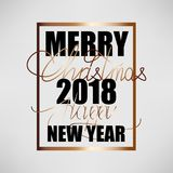 Merry Christmas and Happy New Year 2018. Christmas flat designed vector background. With gold color. Calligraphic text Stock Image