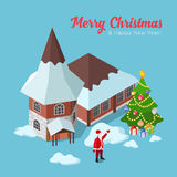 Merry Christmas Happy New Year flat isometric vector 3d postcard Stock Photos