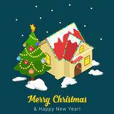 Merry Christmas Happy New Year flat vector isometric 3d postcard Stock Photo