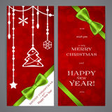 Merry Christmas and Happy New Year flayers Royalty Free Stock Images