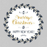 Merry Christmas and Happy New Year floral circle emblem Stock Images