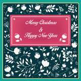 Merry Christmas and Happy New Year with floral pattern Royalty Free Stock Image