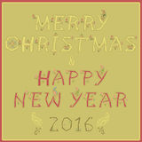Merry Christmas and Happy New Year with floral pattern Royalty Free Stock Images