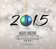 2015 Merry Christmas and Happy New Year Flyer. Modern Christmas Background with abstract geometric shapes for your 2015 Merry Christmas and Happy New Year Flyers stock illustration