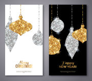 Merry Christmas and Happy New Year Flyers. Background with Silver and Gold Hanging Baubles. Vector illustration. Gold Glitter Texture. Sequins Pattern. Glowing stock illustration