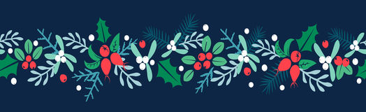 Merry Christmas And Happy New Year folk art background. Berries, sprigs and leaves stylish vector illustration on winter greeting card. Good for cards, posters royalty free illustration