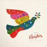Christmas and New Year colorful bird greeting card. Merry Christmas and Happy New Year folk art greeting card bird illustration. Scandinavian vintage style dove royalty free illustration