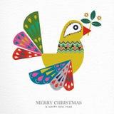 Christmas and New Year folk art bird greeting card. Merry Christmas and Happy New Year folk art greeting card illustration. Scandinavian style dove bird with royalty free illustration