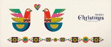 Christmas and New Year scandinavian bird banner. Merry Christmas and Happy New Year folk art web banner bird illustration. Scandinavian style dove with stock illustration