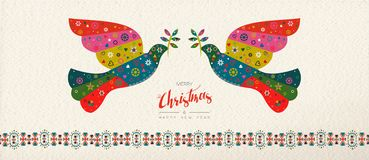 Christmas and New Year scandinavian bird banner. Merry Christmas and Happy New Year folk art web banner bird illustration. Scandinavian vintage style dove with vector illustration