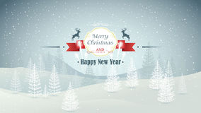 Merry Christmas and Happy New Year forest winter landscape with snowfall and fireworks vector Stock Photos