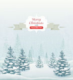 Merry Christmas and Happy New Year forest winter landscape with snowfall and spruces vector. Illustration Stock Photos