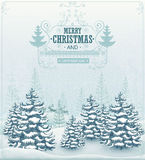 Merry Christmas and Happy New Year forest winter landscape with snowfall and spruces vintage vector. Illustration Royalty Free Stock Photos