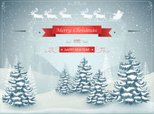 Merry Christmas and Happy New Year forest winter landscape with snowfall  vector. Illustration Royalty Free Stock Photography
