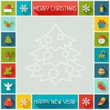 Merry Christmas and Happy New Year frame Stock Photos
