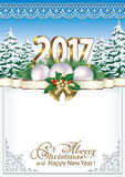 Merry Christmas and Happy New Year 2017.  Frame with fir trees and Christmas decorations Royalty Free Stock Photography