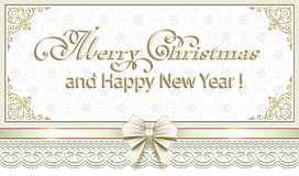Merry Christmas and Happy New Year in a frame with an ornament Stock Image