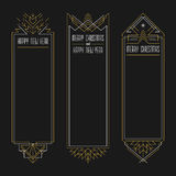 Merry Christmas and Happy New Year frames. Merry Christmas and Happy New Year text. Art deco frames in outline style. 2017 Xmas banners in golden and white Stock Photography