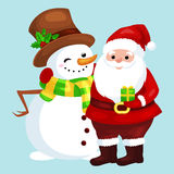 Merry Christmas and Happy New Year!Friends Santa Claus in hat and snowman Stock Images