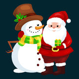 Merry Christmas and Happy New Year!Friends Santa Claus in hat and snowman in scarf celebrate xmas Stock Photo