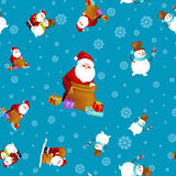 Merry Christmas and Happy New Year Friends Santa Claus in hat snowman in scarf celebrate xmas, snowfall from snowflakes Stock Photo