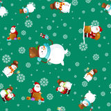 Merry Christmas and Happy New Year Friends Santa Claus in hat snowman in scarf celebrate xmas, snowfall from snowflakes Royalty Free Stock Images