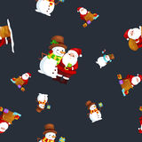 Merry Christmas and Happy New Year Friends Santa Claus in hat snowman in scarf celebrate xmas, snowfall from snowflakes Royalty Free Stock Photo