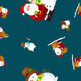 Merry Christmas and Happy New Year Friends Santa Claus in hat snowman in scarf celebrate xmas, snowfall from snowflakes Stock Image