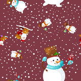 Merry Christmas and Happy New Year Friends Santa Claus in hat snowman in scarf celebrate xmas, snowfall from snowflakes Stock Images