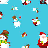 Merry Christmas and Happy New Year Friends Santa Claus in hat snowman in scarf celebrate xmas, snowfall from snowflakes Royalty Free Stock Image