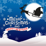Merry christmas and happy new year, Frying santa claus. Merry christmas and happy new year, vector lettring Stock Image