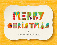 Merry Christmas Happy new Year fun color design. Merry Christmas and Happy New year greeting card design, holiday quote with fun vibrant color made of geometric Royalty Free Stock Photos