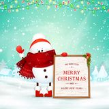 Merry Christmas. Happy new year. Funny snowman holds wooden message board in Christmas snow scene winter landscape with. Falling snow, garlands. Happy snowman stock illustration