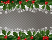 Merry Christmas and Happy New Year garland pattern border with holly berries and snowflakes on transparent background. Abstract background for xmas decoration stock illustration