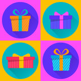 Merry Christmas and Happy New Year gift boxes. Set of four flat colored icons. Presents. Vector illustration stock illustration