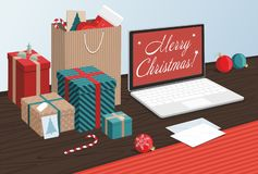 Merry Christmas and Happy New Year. Gift boxes and shopping bags with notebook on table. Vector Illustration stock illustration