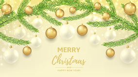 Merry Christmas and Happy New Year gift card Stock Photos