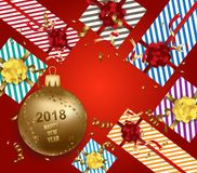 Merry christmas and  happy new year 2018 with gift gold ball.  Royalty Free Stock Image
