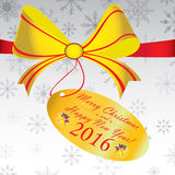 Merry Christmas and Happy New Year 2016 Gift on grey background. Colorful snow on grey background Stock Images
