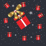 Merry Christmas and happy new year gift present stock illustration